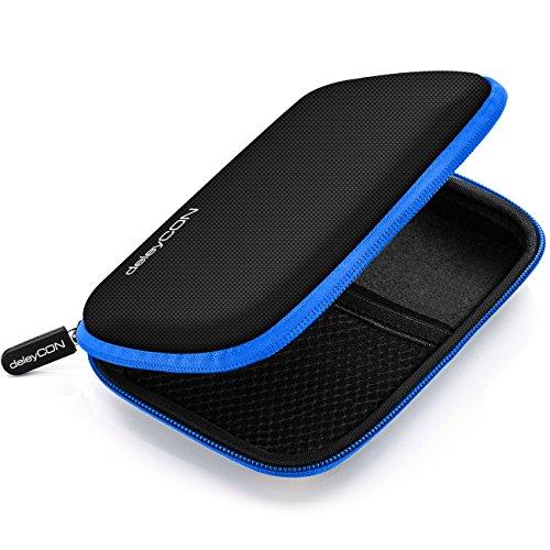 deleyCON Festplattentasche Festplatten Case HDD Case - Für 2.5 Zoll Festplatten und SSD - Robust & Stoßsicher - 2 Innenfächer Netztaschen - Schwarz/Blau