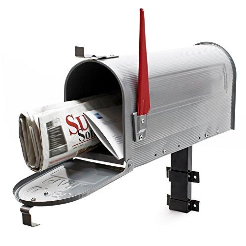 Cassetta postale americana us mailbox con supporto a parete argento-grigio