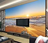 Wxlsl 3D Tapete Wandbild Dekor Meer Sonnenuntergang Landschaft Tv Hintergrund Schlafzimmer Foto Tapeten 3D Wohnzimmer Tapete-200cmx140cm