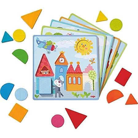 HABA 302949 – Zuordnungsspiel Tierische Abenteuer | Sortierspiel mit 5 Motivkarten und 15 Holzbausteinen in unterschiedlichen Formen und Farben | Spielzeug aus Holz und Pappe ab 18 Monaten