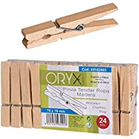 Oryx 5162005 - Mollette per i panni, in legno, 24 pezzi
