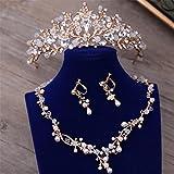 GWQ Braut Golden Crown Crystal Pearl dreiteilige Hochzeit Schmuck Hochzeit mit Collier-Set