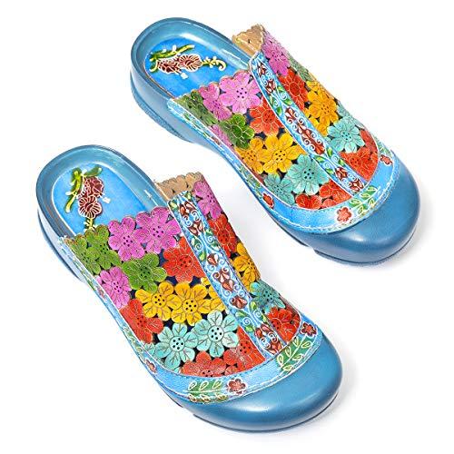 gracosy Plataforma para Mujer Sandalias de Cuero Plantilla Suave Sandalias Antideslizantes Flores Coloridas Zapatillas Huecas Ocio al Aire Libre Zapatos para Caminar Rojo Azul