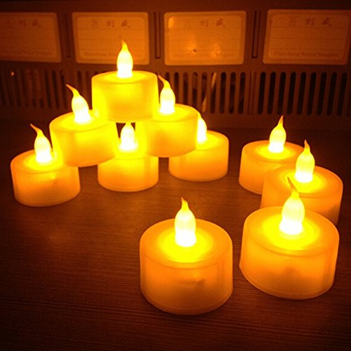 BulzEU 12flackernde Kerzen Licht flammenlose LED Teelicht Tee Kerzen batteriebetrieben Hochzeit Festival Deko Lichter