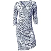 Rick Cardona Designer Kleid silbergrau weiß Gr