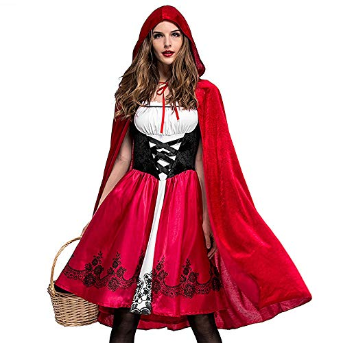 Qmber Halloween Kostüm Cosplay Damen Halloween Party Party Kapuzen Kleid Schal Set Frauen Kostüm Cosplay Ball Bandage Schal Kleid Anzug/Rot,L -