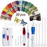 Stickerei-Set, 50 Stück, komplette Auswahl von 50 Stickgarn-Set, Regenbogenfarben, Stickgarn-Set für Anfänger mit Sticknadeln/Paste, Wickelplatte, Schere und Aufbewahrungsbox, Nadel-Handwerkzeug