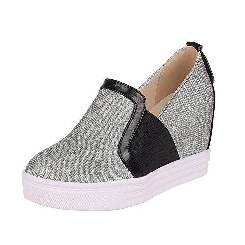 AllhqFashion Damen Rund Zehe Ziehen Auf Blend-Materialien Hoher Absatz Pumps Schuhe Silber