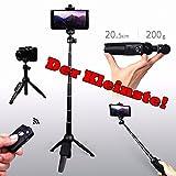Yunteng Mini-Tripod, Kombination aus Bluetooth-Kamerastativ und Selfie-Stick, Unter 200g Leicht, Nur 20 cm Länge, Extrem Kompakt, mit Bluetooth-Fernbedienung, für Profi-Kameras und Smartphones
