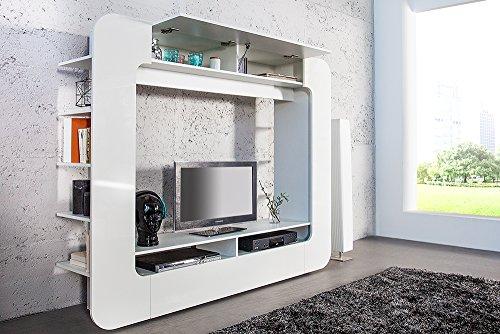Design Medienwand CUBUS weiß 185cm Hochglanzfront 3D Optik Wohnwand TV Wand - 4