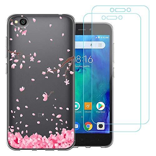 "jrester Funda Xiaomi Redmi Go,Flor Rosa Flexible Suave Transparente Silicona Smartphone Cascara Protectora para Xiaomi Redmi Go (5,0"") con Dos Pelicula Protectora Vidrio Templado"