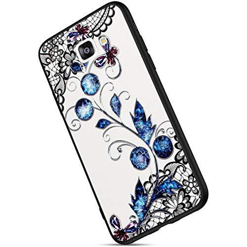 Ukayfe Geprägte Glitzer Bling Diamant Strass floral Ultradünn Stoßfest Anti-Scratch Spitze Flower Case Hülle Kompatibel mit Samsung Galaxy J7 Prime 2016/On7 2016-Blaues Stiefmütterchen+EINWEG