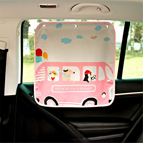 Enjoyfeel Universal Auto Sonnenschutz für Kinder, Autofenster Sonnenblende mit Tiermotiven für Babys(2 Stück) (pink 2)