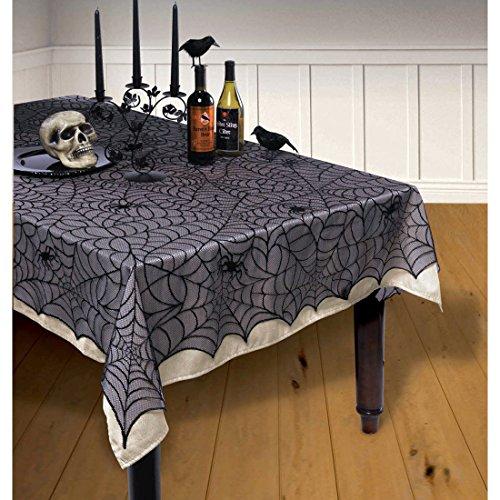 NET TOYS Halloween Spinnennetz Tischdecke Tischdeko Spinne 1,5 x 2,1 m Tischtuch Spinnwebe Halloweendeko Spitzendecke