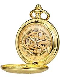 TREEWETO - Reloj de bolsillo con esqueleto, mecanismo de viento, doble caja, números romanos, color negro, antiguo, con caja de cadena