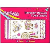 GirlZone Tatuajes Brillantes TEMPORALES para Chicas - Paquete de 5 cartulinas Regalos para Chicas Incluye Tatuajes Dorados, metálicos y de Colores Ideal Regalo Fiestas de cumpleaños niñas 4 a 10 años