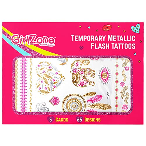 Girlzone: tatuaggi temporanei per bambine e ragazze - 5 fogli & 65 motivi, tra cui tattoo oro, tatuaggi glitterati per bambini - ottima idea regalo per natale bimba e ottima idea regalo befana