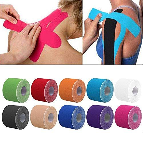 OSAYES 2size Kinesiology Tape Cinta Athletic Sport Tenis Gimnasio Fitness Cinta de Correr la recuperación de fleje Protector de Rodilla Tijera musculo