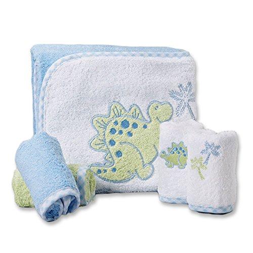Spasilk 100% Baumwolle Kapuzen-Frottee-Badetuch mit 4 Waschlappen-Dinosaurier blau / grün