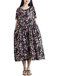 Sylar Vestidos Mujer, Vestido Suelto De Manga Corta Estampado De AlgodóN Y Lino para Mujer