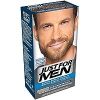 JUST FOR MEN Colorante en gel bigote barba y patillas - Tinte para las canas de la barba para hombres - castaño.