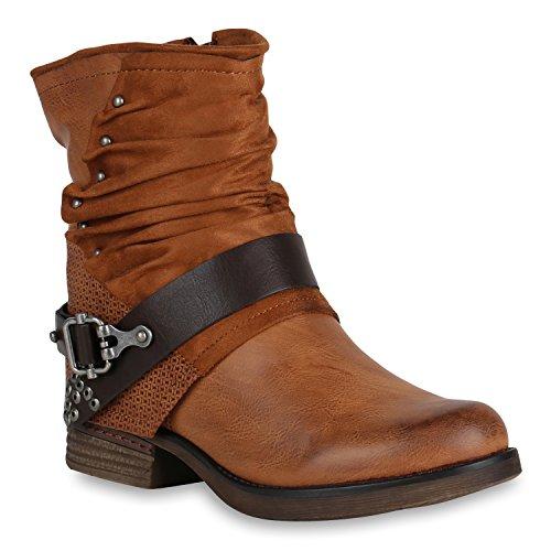 Damen Biker Boots Rockige Stiefeletten Stiefel Leicht 148354 Hellbraun Nieten 39 Flandell