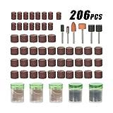 Kkmoon 206PCS 1/20,3cm Shank Rotary Tool Accessories set abrasivi macinazione spazzolatura lucidatura punte di kit con contenitore per Dremel smerigliatrice