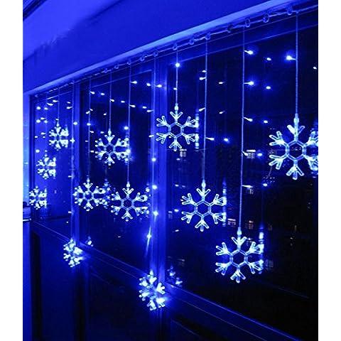 Minetom 115 LEDs Fairy Luces de Navidad Estilo de Nieve Cortina Luces iluminación para el Festival de la Boda del Partido de Jard Decorativo Azul