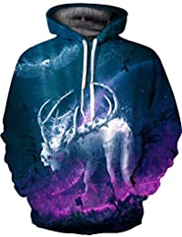 LYJLYJ La impresión 3D de astas Wolf Hoodie Sweatshirt patrón de Personalidad exagerado Seguro Ropa Casual