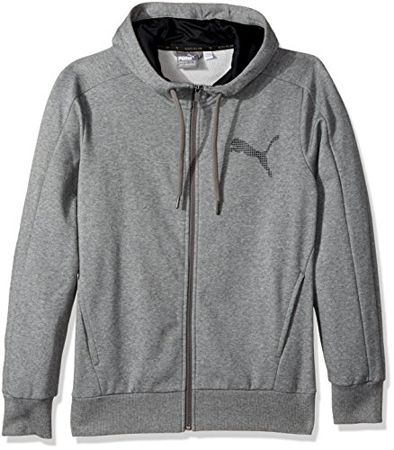 PUMA Men's P48 Core Full Zip Hoody Fleece, Medium Gray Heather, Small -