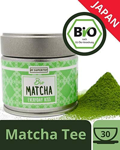 Bio Matcha Pulver - EVERYDAY KiSS | original Matcha aus Japan für langanhaltende Energie und hohe Konzentration an Antioxidantien | Mild süßlich Geschmack für Anfänger und Kenner | MY SUPERTEA