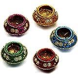 Aapno Rajasthan Colorful Matki Shape Diyas For Home Decoration (Set Of 5)