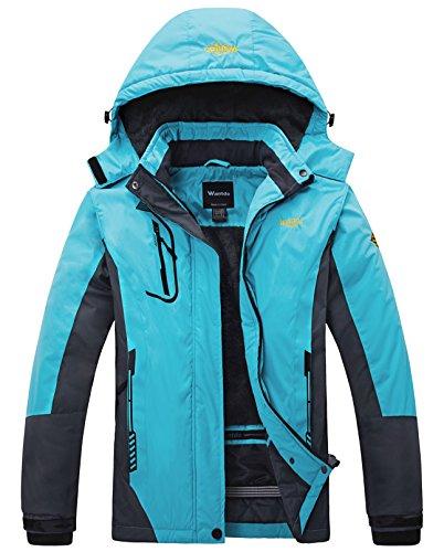 Wantdo Damen Wanderjacke Wasserdicht Winddicht Regenjacke Outdoorjacke mit Fleecefutter Hellblau Medium