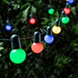 Lights4fun Guirnalda Luminosa DE 20 Bombillas con LED Multicolor en Cable Verde para Interiores y Exteriores