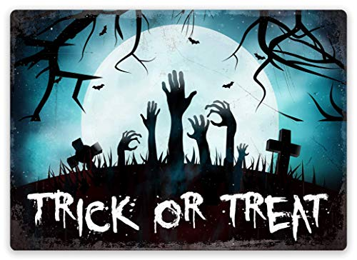 | Toasted Termine Hier | Zombie Rising (Full Moon) – Trick or Treat | Metall Wandschild Aufschrift, Sticky-Pads