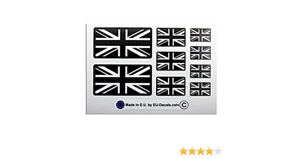 9X UK Union Jack flags in Black and White Laminated Decal Sticker for helmet and bike MioVespa collection