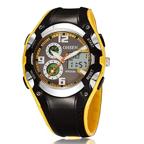 NoNo Ohsen rundes zifferblatt Kalender led-anzeige Zeiger kleines zifferblatt Design Mode männer quarzuhr mit silikonband Uhr (Farbe : Gelb)