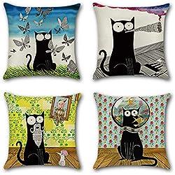 Artscope Funda de Cojín 45x45cm Juego de 4,Funda de Almohada para Cojín Cuadrado Algodón Lino para Sofá Cama Hogar Decorativo (Gato Negro de Dibujos Animados)