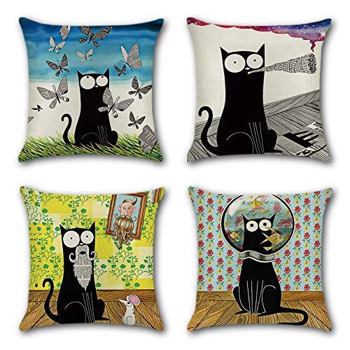 Artscope federe 4 pack cuscini per divano cotone biancheria gettare decorativo caso federa per cuscino divano letto auto 45 x 45 cm (cartone animato gatto nero)