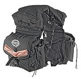 Satteltasche Rückseite aus Nylon gefüllt mit herausnehmbare Deckeltasche. Komplett-borracce. Umbria Reiten, Pferd, Pferde, dunkelbraun