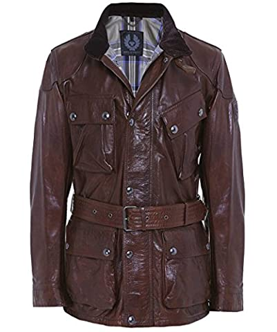 Belstaff Leather Panther Jacket Cognac Brown 44