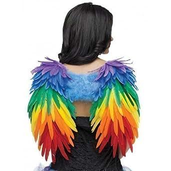 Costume Ailes Plume Perroquet Femmes Deluxe Multicolore Arc-en-ciel Festival Carnaval Gay Pride