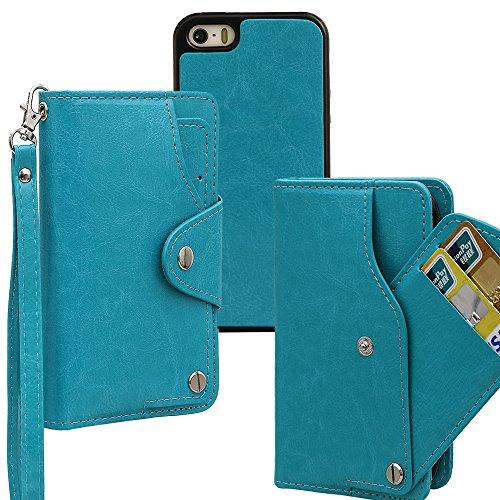 xhorizon TM MLK [Mise à niveau] [détachable] [séparable] 2 en 1 haut de gamme en cuir double-pli carte magnétique soutien le téléphone Compatible avec l'étui portefeuille avec cordon pour iPhone 5 / i bleu +9H Glass Tempered Film