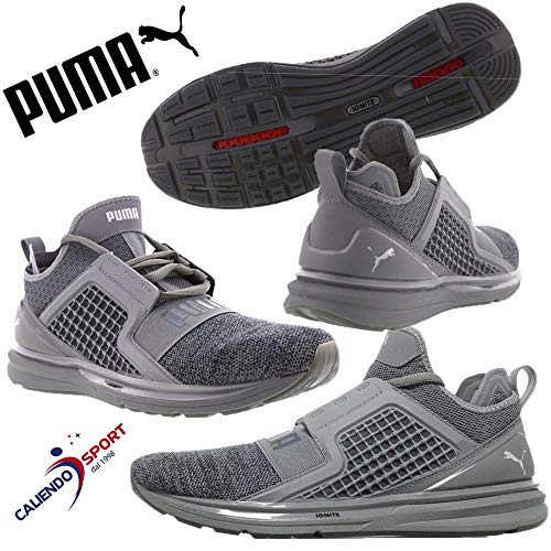 Puma Herren Ignite Limitless Knit Cross-Trainer, Quiet Shade-puma Silver, 45 EU