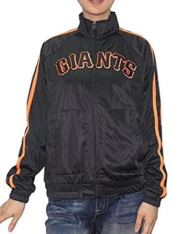 MLB Womens San Francisco Giants Zip-Up Track Jacket with Embroidered Logo L Black