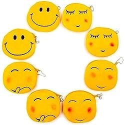 JZK 8 Plush Emoji emoticono monedero bolso 11 cm pequeña bolsa con cierre terciopelo bolsa emoticones bolsa cara sonriente regalo cumpleaños regalo Navidad para niños niña chico