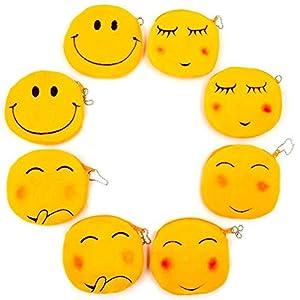 JZK 8 Plüsch Emoji Geldbörse 11 cm kleiner Beutel Samt-Zip-Tasche Emoticon Tasche Smiley-Tasche Portemonnaie Geburtstagsgeschenk Weihnachtsgeschenk für Kinder Mädchen Jungen
