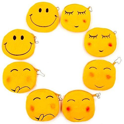 JZK 8 Plüsch Emoji Geldbörse 11 cm Kleiner Beutel Samt-Zip-Tasche Emoticon Tasche Smiley-Tasche Portemonnaie Geburtstagsgeschenk Kinder Mädchen Jungen