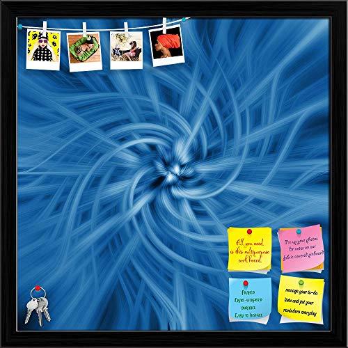Artzfolio Blue Spiral Digital Artwork Printed Bulletin Board Notice Pin Board | Black Frame 20 X 20Inch