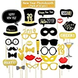 Questquo Heronsbill Merry Christmas Eve Photo Booth Props Decor Hats Glasses Party Decorations Photobooth Happy Year Supplies Color 32Pcs